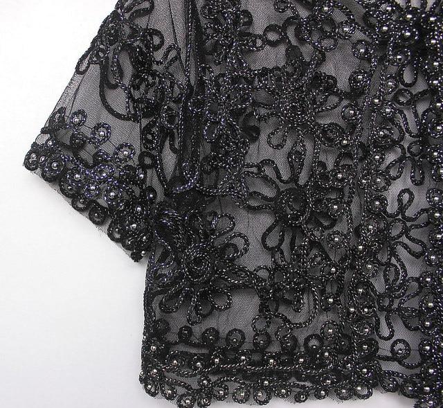 Women Basic Coat Embroidery Ribbon Bead Embellished Short Sleeve Cardigan See-Through Sheer Lace Mesh Bolero Top Jacket 10