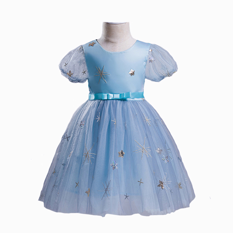 Girls Princess Dress Baby Lace Cotton Lining Vestido Puff Sleeve Snowflake Patch Ball Gown Dresses Party Clothing 3Y-10Y вечернее платье mermaid dress vestido noiva 2015 w006 elie saab evening dress