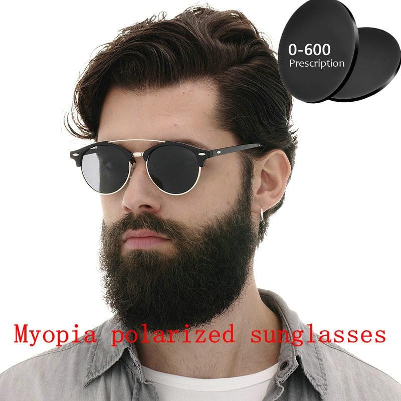 Custom Made Myopia Minus Prescription Polarized Lens Sunglasses Men Half frame Double beam round Sun Glasses Male Goggles FML 1