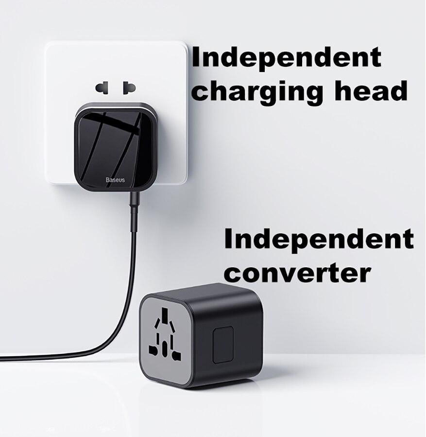 Image 3 - Baseus Quick Charge 3,0 международное Зарядное устройство USB адаптер питания PD QC3.0 Быстрая зарядка настенная розетка для Великобритании/ЕС/Австралии/СШАМеждународный адаптер для розетки   -
