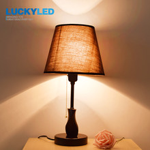 LUCKYLED Modern Desk Lamp Wood Table light E27 / E26 Holder bedroom night light Living Room Decoration Light with Dimmer Switch(China)