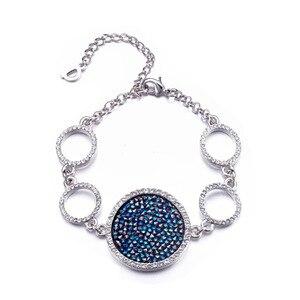 Image 5 - Cdyle Moda Jóia Set Azul Gem Mulheres Colar Pulseira Anel Define Bijoux Embelezado com cristais Redondos