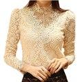 Кружевная блуза 2016, элегантный украшенный бусами женский боди с длинным рукавом, женские рубашки, кружевные топы и блузы для женщин