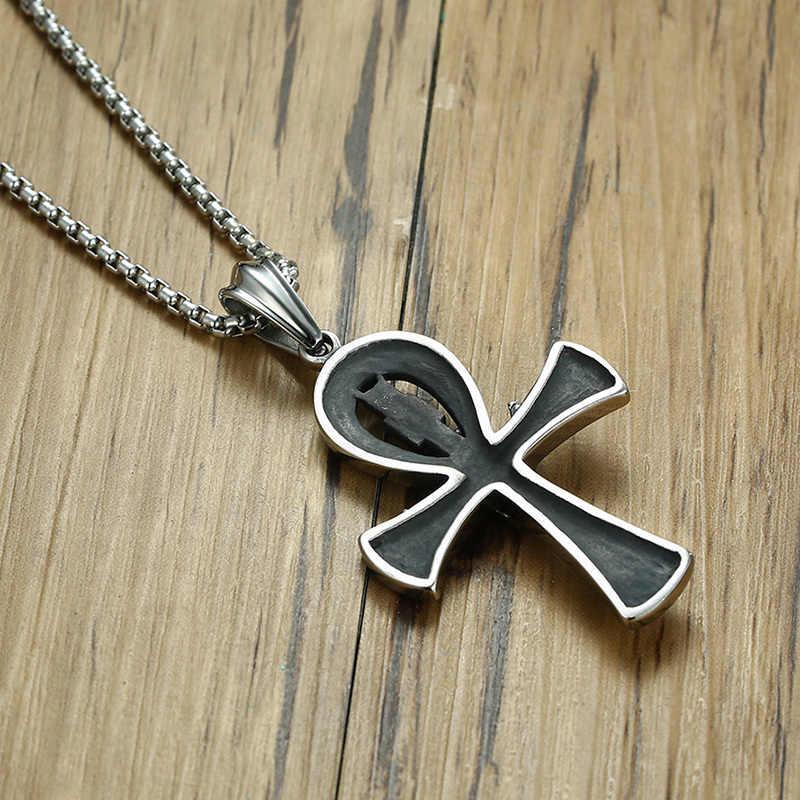 Meaeguet Punk Street klucz do życia egipt naszyjniki z krzyżem dla mężczyzn średniowiecze ze stali nierdzewnej Totem Scarab Ankh wisiorek biżuteria