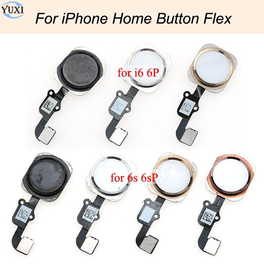 Кнопка YuXi Home с гибким кабелем для iPhone 6, 6Plus, 6S, 6S Plus, домашняя кнопка в сборке, не может использоваться сканер отпечатка пальца.