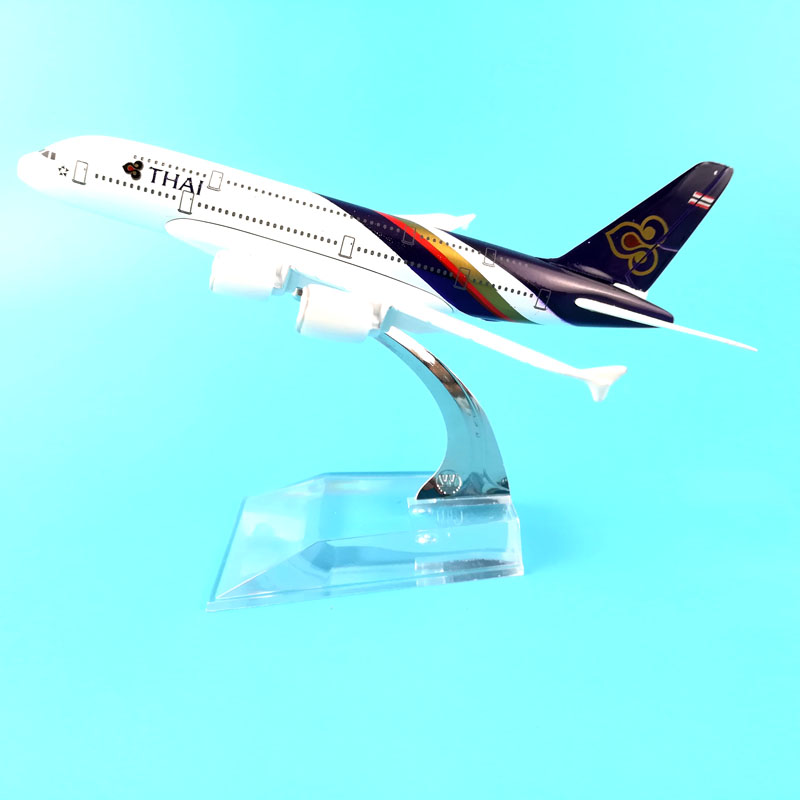 THAI AIRLINES 16CM A380 THAI AIRLINES METAL ALLOY MODEL PLANE AIRCRAFT TOYS FOR CHILDREN BIRTHDAY GIFTS ORNAMENT