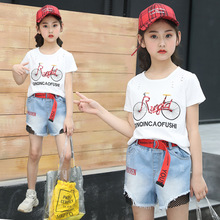 Kids Clothing Fashion Baby Summer Kids Sets Bicycle Print Tee Shirts + Blue Jeans Shorts 2 Pcs 2019 Clothes Set for Teenagers kids contrast panel panda print tee with gingham shorts
