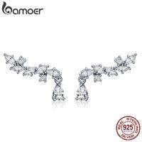 BAMOER Genuine 100 925 Sterling Silver Elegant Crystal CZ Geometric Stud Earrings For Women Sterling Silver