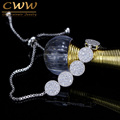 CWW Charm Bracelet Adjustable Chain Bracelets For Women High Quality Tiny CZ Simulated Diamond Pulseras Femme Jewelry CB183