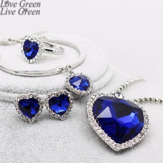 Модное ожерелье, серьги, темно-синие Австрийские хрустальные стразы, ожерелье с голубым сердцем, Женские Ювелирные наборы k148