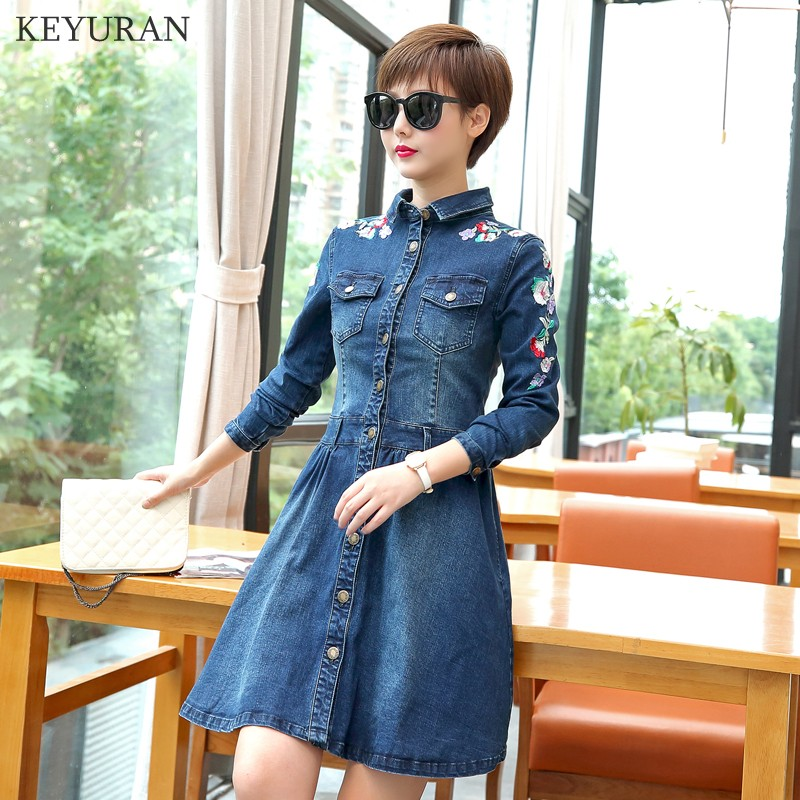 Cotton Slim Denim Dress Autumn Ladies Floral Embroidery Vintage Button Women High Quality Jeans Dress Casual Clothing L2504