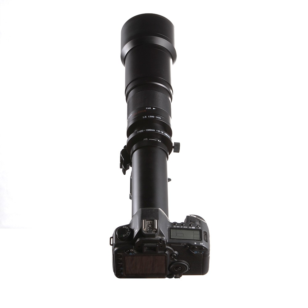 Lightdow 650-1300mm Camera Lens F8.0-16 Ultra Telephoto Zoom Lens with T-Mount for DSLR Camera 8
