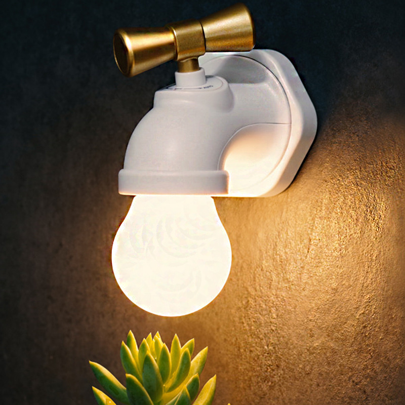 Led Stimme Control Night Licht Wasserhahn Typ Usb Aufladbare Tap Wand Warmes Licht Für Baby Nacht Augenschutz Lampe