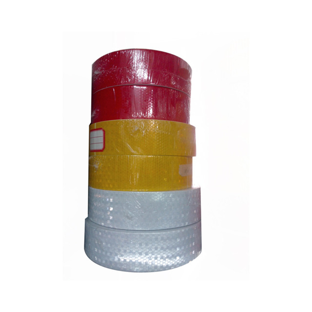 (6 Roll/ lot ) Wholesale glisten Lattice Reflective Conspicuity Tape yellow red white Adhesive Hazard Warning Tape 50m/roll
