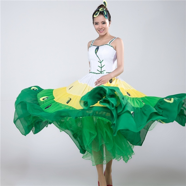 049d5aae89a3 Green Pavaner Expansion Dress Peacock Dance Costume Performance Wear  Sequined Costumes Chinese Folk Dance Dai Peacock Dance