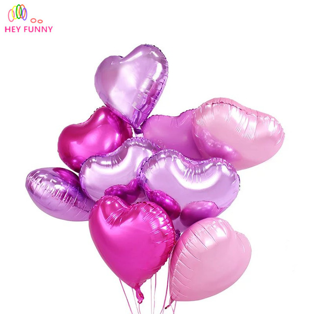 HEY FUNNY 5pcs/lot 18inch Foil Star heart Shape Balloons love Pearl pink foil balloons For Romantic Wedding Birthday Party Decor