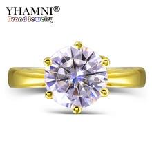 YHAMNI Solid Yellow Gold Wedding Rings Original 2 Carat Round Diamant Anillos Gold Color CZ En...
