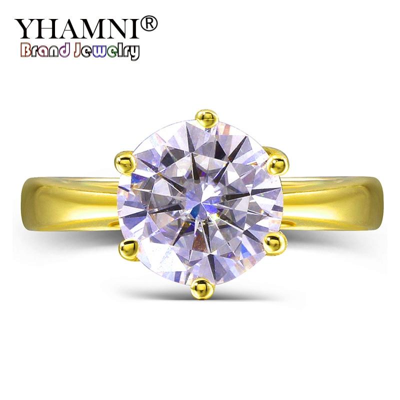 YHAMNI Solide Or Jaune Anneaux De Mariage D'origine 2 Carat Ronde Diamant Anillos Or Couleur CZ Bagues de Fiançailles pour Femmes ANR169