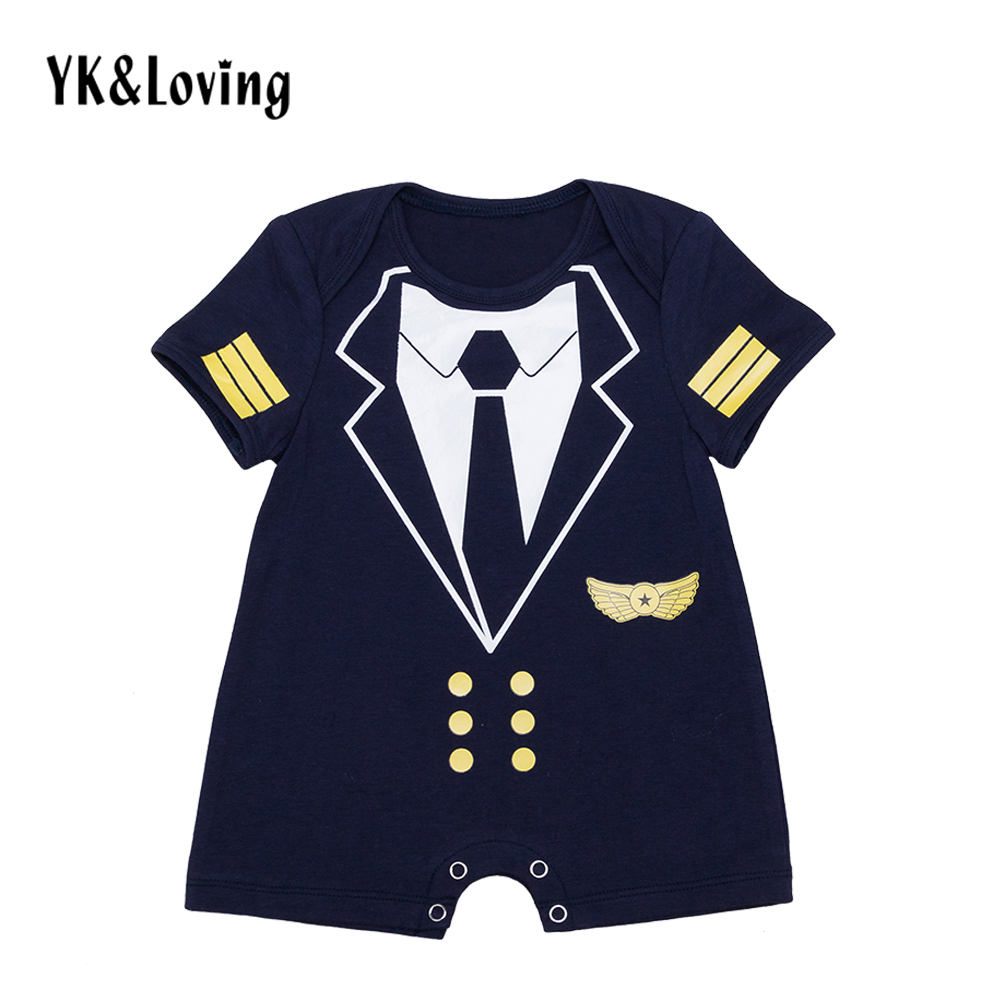 2017 Summer Style Baby Boy Clothing Short Sleeve Cotton Romper for 0-2Years Newborn Captain Cosplay Costume Infant Boys Jumpsuit newborn baby boys girls rompers infant short sleeve cotton jumpsuit clothing mama s boy printed summer clothes boy romper
