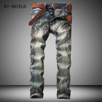 Mens patchwork spliced ripped denim jeans mannen Vintage Zuur Gewassen Faded Multi-Zakken jeans Militaire Stijl Biker Jeans Voor mannen