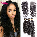 7A Curly Indian Virgin Hair With Closure Indian Water Wave With Closure 4 Bundles Water Wave Virgin Hair With Lace Closure