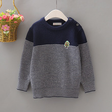 Casual Winter Cotton Pullover Sweater for Boys Stripe Baby Boys Sweaters Comfortable and Warm Contrast Color Baby Boy Clothes
