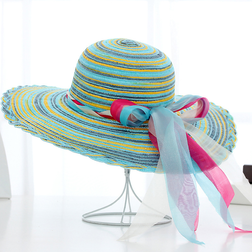 2018 Fashion Striped Bowknot Summer Sun Hat Beautiful Women Straw Beach Hat Large Brimmed Hat For Lady Casual Snapback Gorras