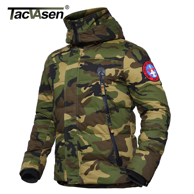 TACVASEN Men Winter Military Jacket US Army Thermal Hood Jacket Thicker Military Style Parkas Camouflage Cotton Coat TD-DSPD-005