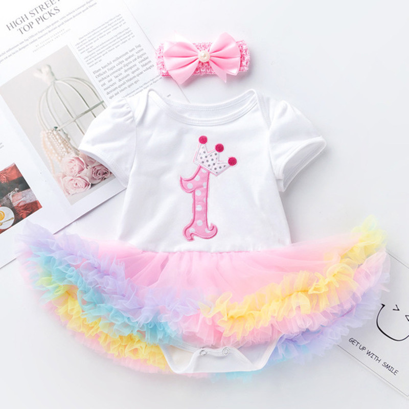 d92bcd99 Baby Girl First Birthday Outfit Ensemble One Year Little Girl Dress  Clothing Baby Child Summer Clothes Infant Christening Suits-in Dresses from  Mother ...