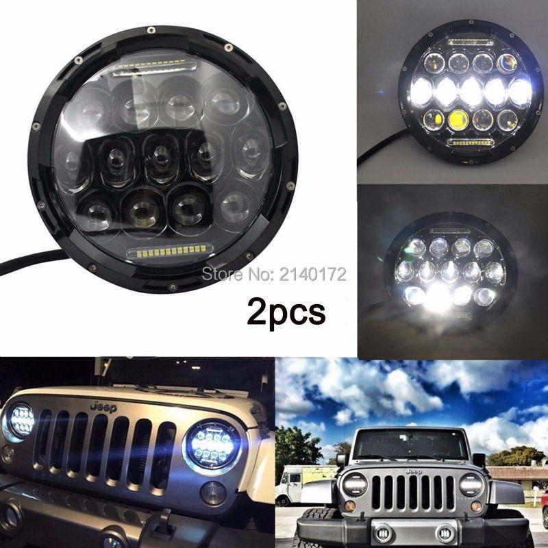 2x 7 inch Round 75W LED Headlight DRL Hi/Lo Beam Black Aluminum housing For Jeep  Wrangler JK Hummer