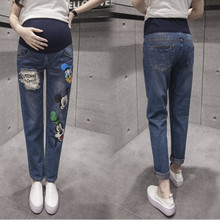 Ripped Maternity Jeans with Cartoon Character Patches