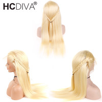 Honey Blonde Lace Front Wigs 130% Density #613 Brazilian Remy Human Hair Lace Frontal Wigs Pre Plucked With Baby Hair HCDIVA