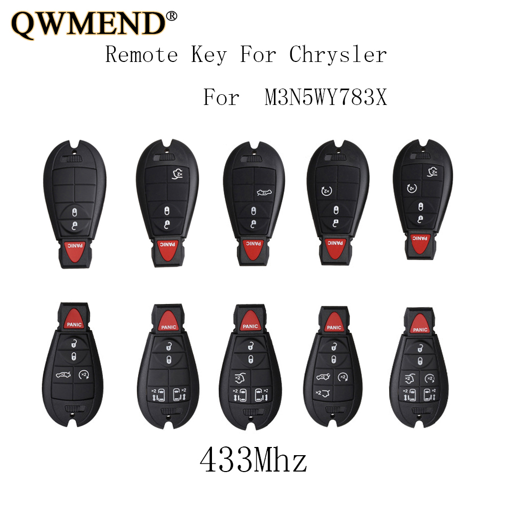 1 New Red Keyless Entry 4 Buttons Remote Start Car Key Fob M3N5WY783X IYZ-C01C For Jeep Grand Cherokee 300 Challenger Charger Durango SHELL//CASE ONLY no electronics