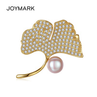 JOYMARK Ginkgo Leaf Pink and Gray Color Natural Pearl 925 Sterling Silver Zircon Pave Women Brooch Fine Jewelry JPPB202