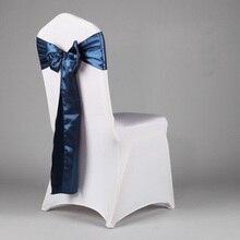 100 Satin Tissu Marine Bleu Chaise Couvre Sash/Bow Pour  Le Mariage/Partie(China (Mainland))