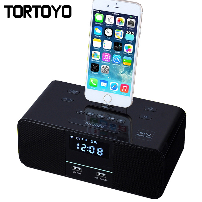 6W Stereo Bass Wireless Bluetooth Speaker Support Alarm Clock NFC FM Radio Charger Dock Station for iPhone 5 5S SE 6 6S 7 Plus купить в Москве 2019