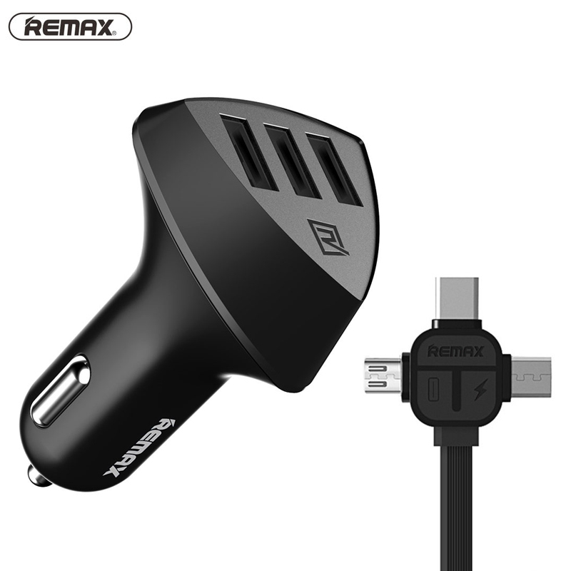 Remax 3 <font><b>usb</b></font> port Car Charger 5V/4.2A Quick Charging With <font><b>3in1</b></font> <font><b>usb</b></font> <font><b>cable</b></font> <font><b>For</b></font> <font><b>iphone</b></font> 5s 6 7 8 plus xiaomi Samsung Note 5 S6 Edge image