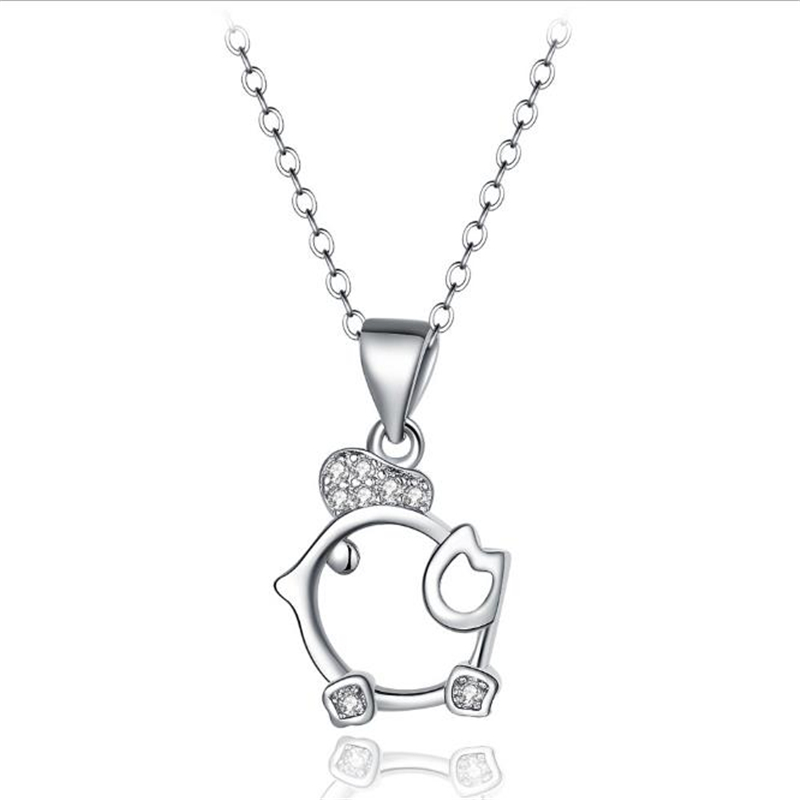 KOFSAC Charms 925 Sterling Silver Pendants Necklace For Girl Lady Engagement Cute Chick Shaped Clavicle Necklace Accessories(China)