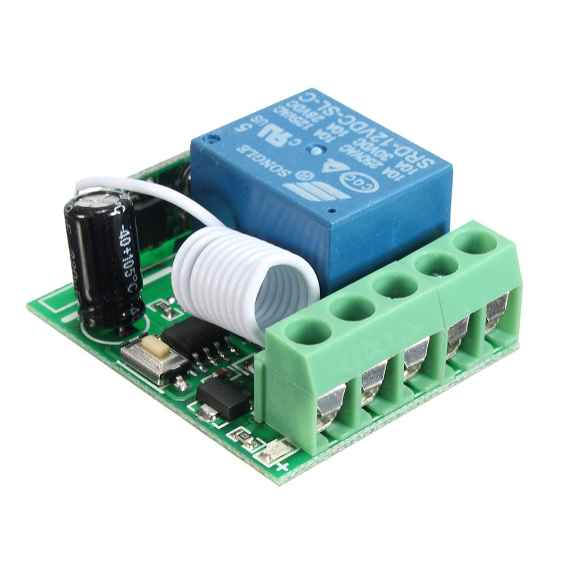 100M DC 12V 10A 1 Ch Wireless Relay RF Remote Control Switch Heterodyne Receiver 433MHz dc m клемма