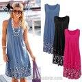 Womensdate nuevas mujeres chaleco sin mangas flojo impreso dress sección larga del a-line del o-cuello vestidos de verano vestidos de playa para las mujeres