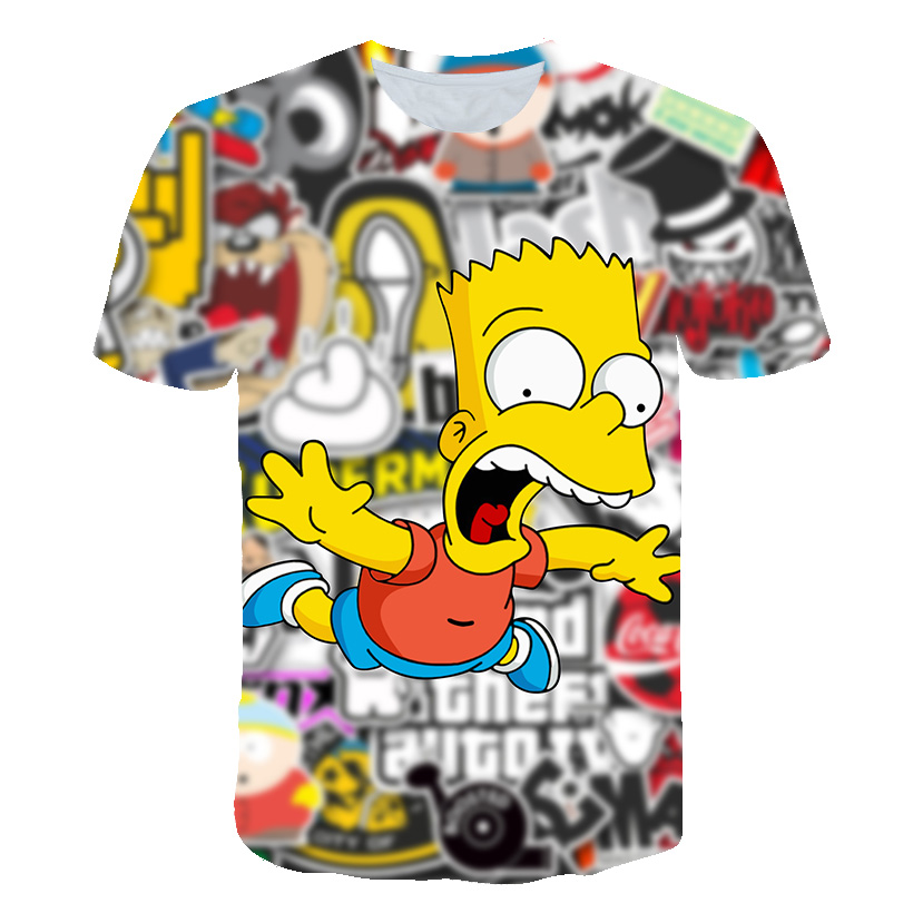 Simpson Snoopy And Other Animation Printing T-shirts With Round Collar And Short Sleeves In Summer(China)