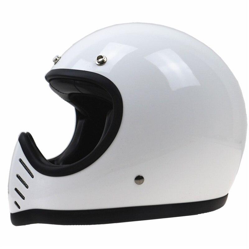 Capacete da motocicleta do Piloto do Café Estilo bicicleta capacete DOT aprovado completa rosto Retro motorbike capacete modelo Clássico de Couro coberto