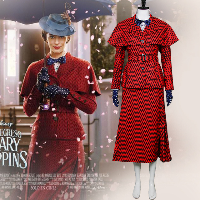 2018 New Hot Movie Mary Poppins 2 Tata Mary Poppins Returns Cosplay Costume  delle Donne Trench 5ced755805b6