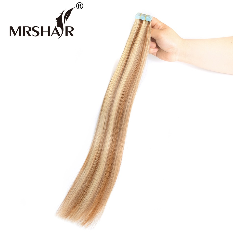 MRSHAIR 6 613 Tape In Hair Extensions Skin weft Real Natural Human Hair Non Remy Double