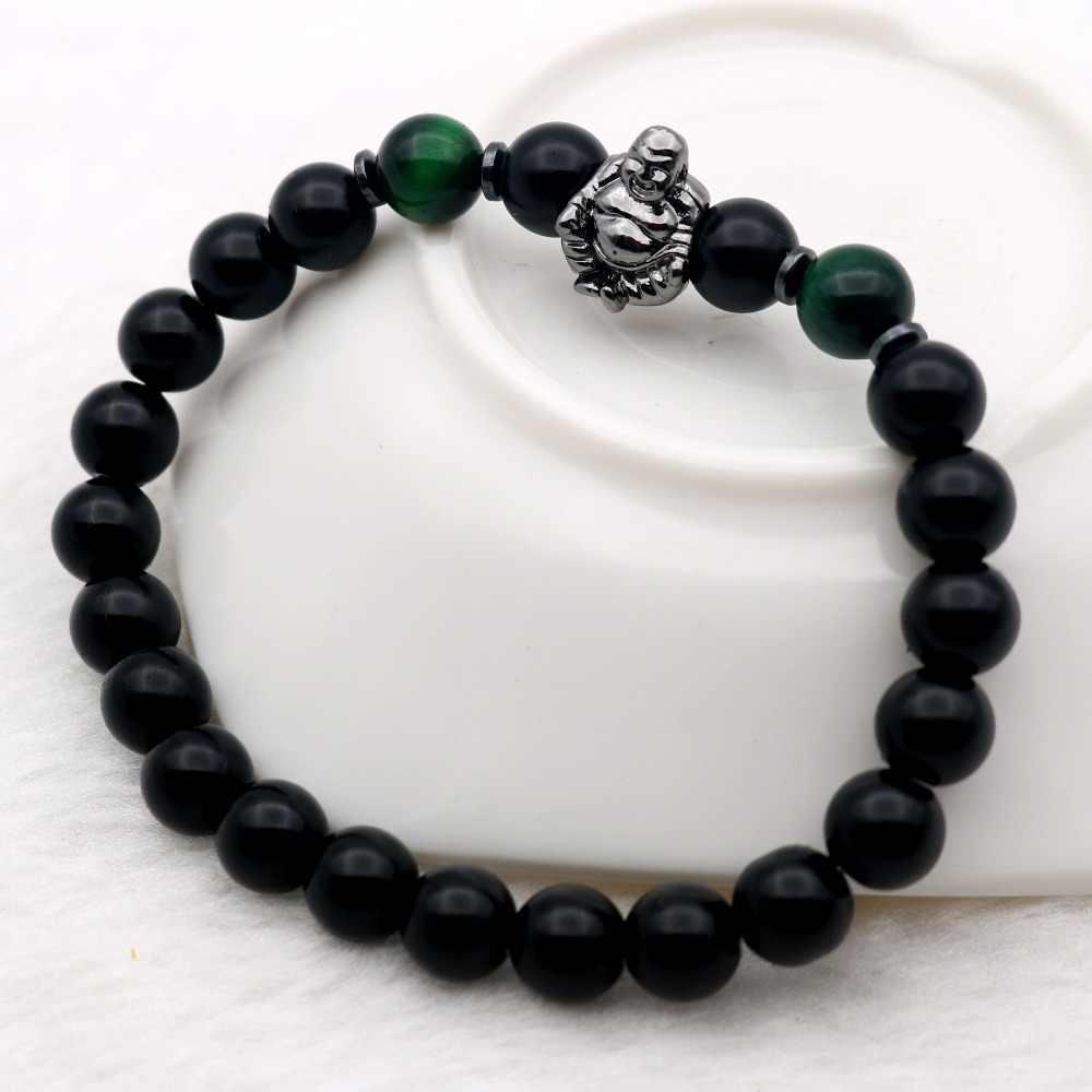 תכשיטי מזל הבודהיסטי Mala תפילה צמידי מדיטציה בודהה מאטרייה צוחק אוניקס שחור מט-אבני עין נמר ירוק