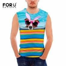FORUDESIGNS 2017 New Summer 3D Sided Dog Printing Tank Tops Men Bodybuilding Stringer Tank Top  Man Vests Sleeveless Clothing