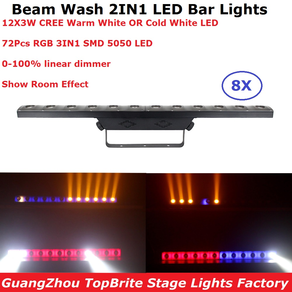 8Pcs/Lot 12X3W Cold White LED Wall Wash Light Beam Wash 2IN1 DMX Bar Light For Dj Disco KTV Nightclubs Inddor Running Horse