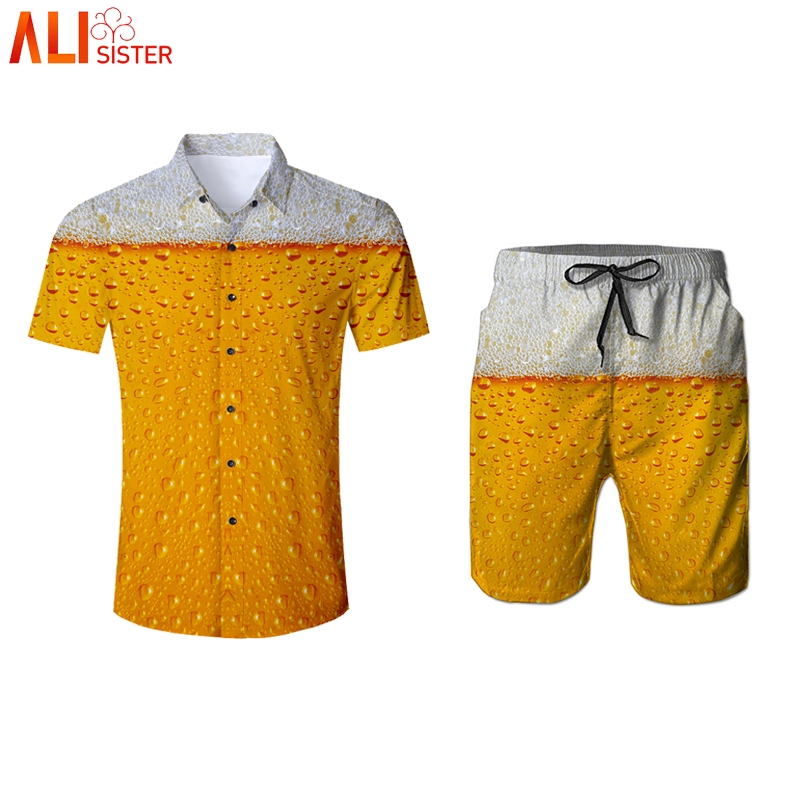 Alisister Beer Print 2 Pieces Set 3d Shirts And Shorts Men's Summer Funny Print Beach Wear Turn-down Collar Tuxedo Shirt Pants