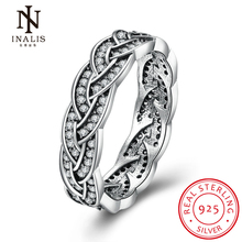 INALIS Elegant Rhinestone 925 Sterling Silver Rings , White CZ Finger Overlapping Ring for Women Fashion Wedding Jewelry