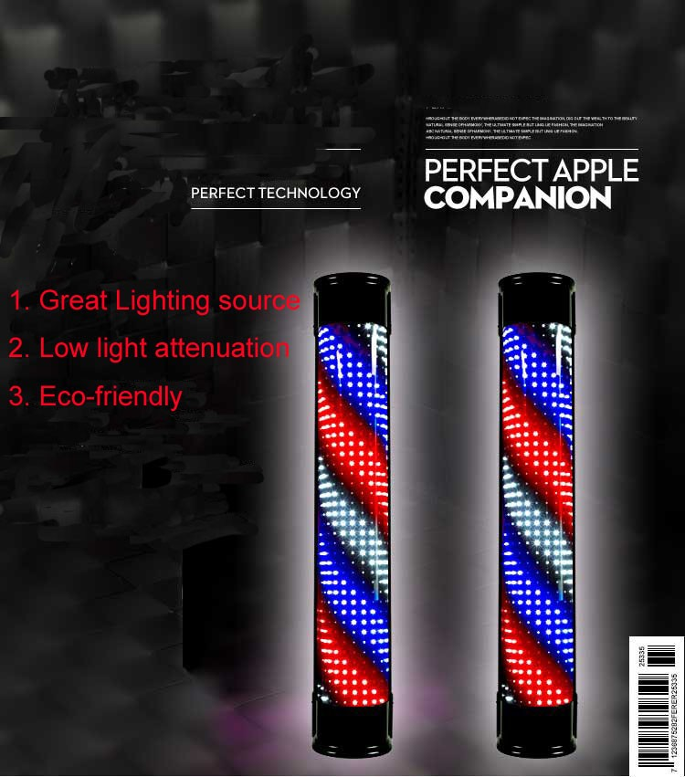 Waterproof High Quality Professional Barber Sign Pole Led Light With Remote Control Barbers Product Supply Salon Equipment Tools-in Styling Accessories from Beauty & Health    1